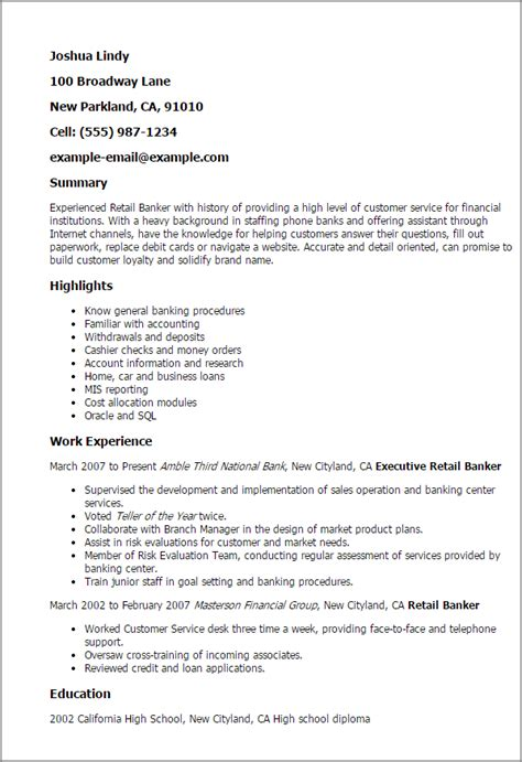 Bank Of America Personal Banker Sle Resume by Professional Retail Banker Templates To Showcase Your Talent Myperfectresume