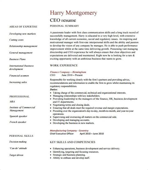 Areas Of Expertise Resume by Awesome Ceo Cv Template Collection Ai
