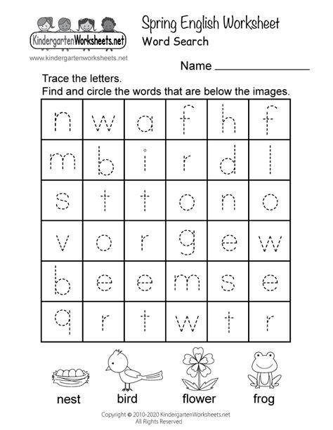printable spring english worksheet  kindergarten