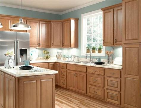 Furniture , Durable Oak Kitchen Cabinets : Honey Oak
