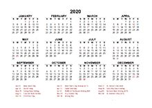 South Africa 2020 Calendar with Holidays Printable