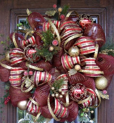 deco mesh burgundy  gold christmas wreath gift ideas