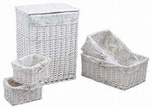 Panier A Linge Blanc : panier linge avec 4 corbeilles ~ Teatrodelosmanantiales.com Idées de Décoration