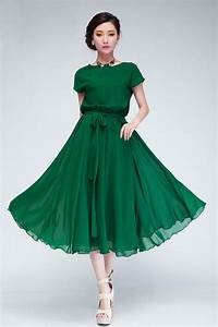 Fashion Pleated O Neck Short Sleeves Green Chiffon Mid ...