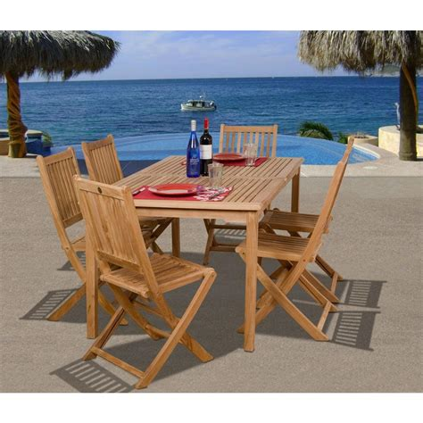 amazonia prague 7 piece teak patio dining set sc prague