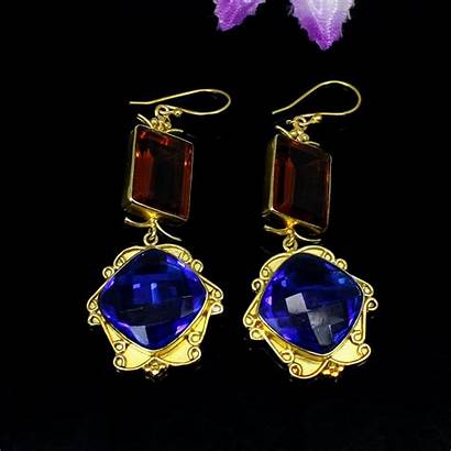 Earrings Citrine Tanzanite Stone Jewelry