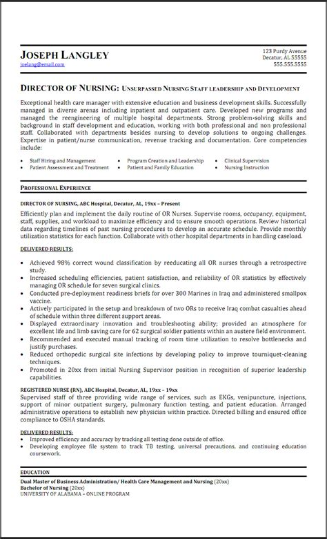 resume examples  nursing management perfect resume format
