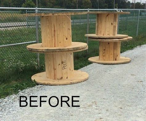 large wooden spools used for tables diy clock from a wooden spool hometalk