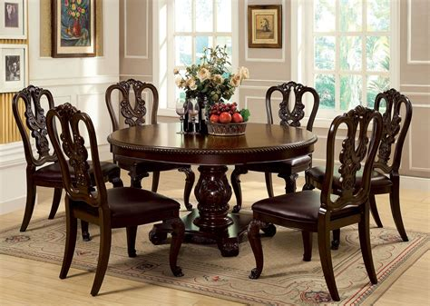 wood pedestal dining table set bellagio brown cherry round pedestal dining room set from