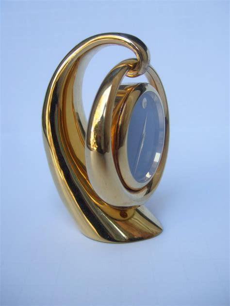 movado brass desk clock movado sleek gilt metal diminutive desk clock at 1stdibs