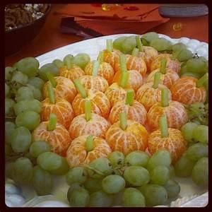 Fall Themed Snack (Pumpkin Oranges/Grape Platter & Candy ...