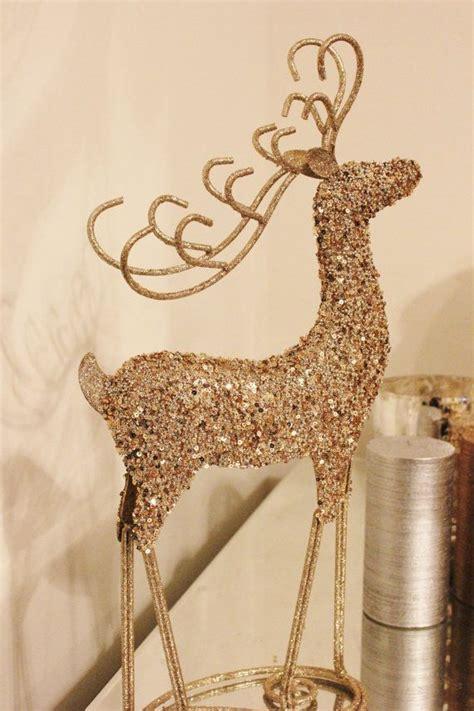glittery reindeer gold glitter figurine statue figure