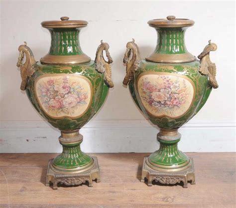 Large Floral Vases by Pair Large German Dresden Porcelain Floral Urns Vases