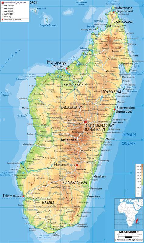 physical map  madagascar ezilon maps