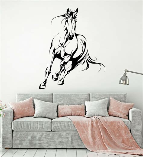 Vinyl Wall Decal Abstract Galloping Horse House Pet Animal