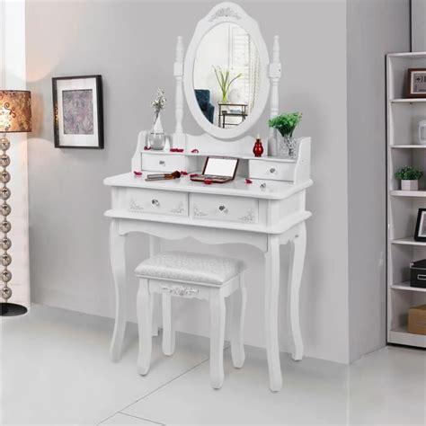 meuble coiffeuse maquillage songmics coiffeuse blanche 224 4 tiroirs avec 2 s 233 parateurs un miroir et un tabouret achat