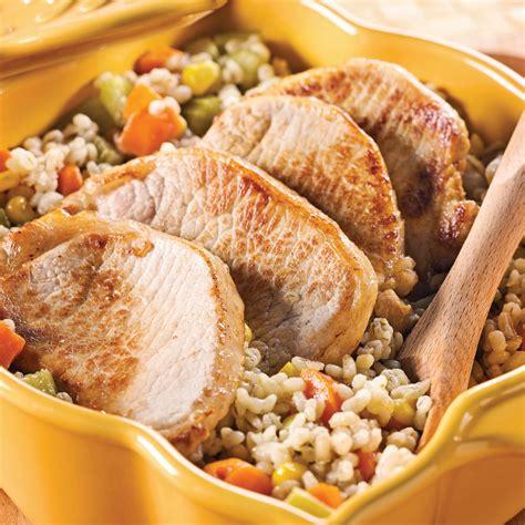 orge recettes cuisine côtelettes de porc et pilaf d 39 orge aux légumes recettes