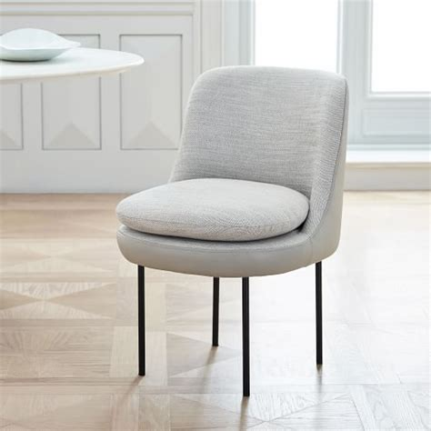 modern curved leather back dining chair west elm