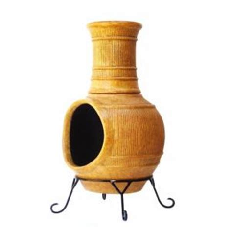Chiminea Clay Home Depot - clay chiminea lines in rustic yellow kd 020 the home depot