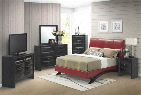 G2549 Red Upholstered Bedroom Set Bedroom Sets Bedroom