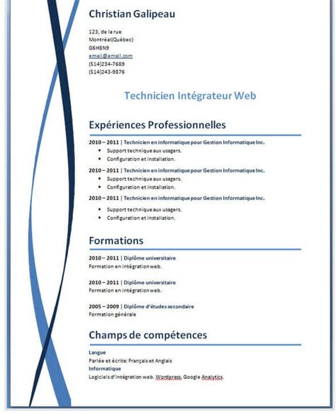 Modele Cv Informatique Word by Exemples Mod 232 Les De Cv Gratuit Word Photoshop