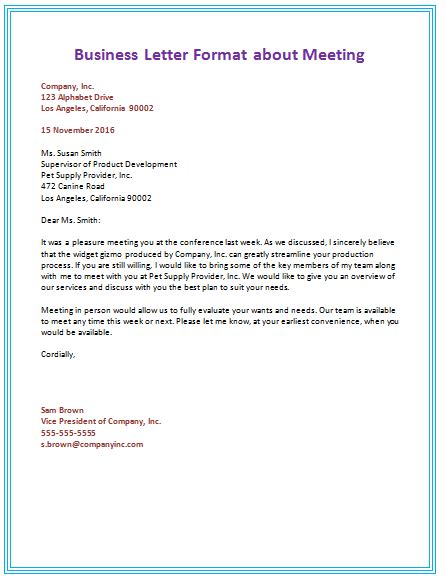 samples  business letter format  write  perfect letter
