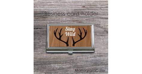 wood design business card holder horns print monogramcase