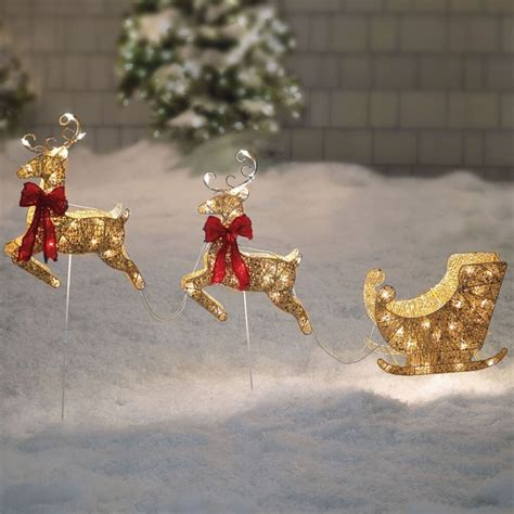 santa sleigh  reindeer gold pre lit holiday christmas
