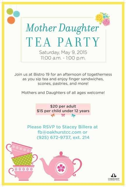 mother daughter tea party poster flyer template