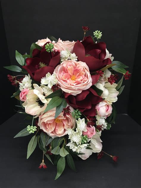 mulberry bridal bouquet maroon pink white anemone