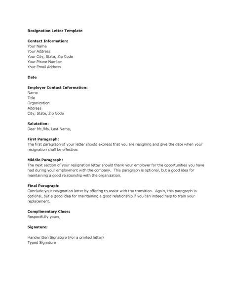 letter of resignation templates resignation letter sles pdf doc format