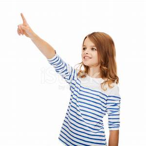 Smiling Girl Pointing AT Virtual Screen Stock Photos ...