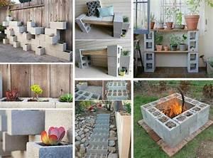 bloc beton pour la deco de jardin en 30 idees creatives With déco chambre bébé pas cher avec realiser un bac a fleur en bois