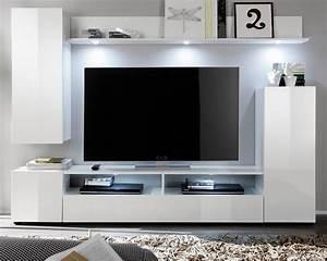 Fernseher In Weiß : wohnwand schrankwand dos wei hochglanz ~ Frokenaadalensverden.com Haus und Dekorationen