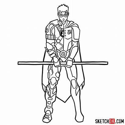 Robin Comics Dc Draw Drawing Step Superhero