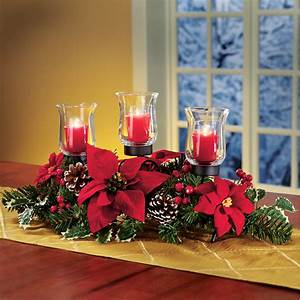 Christmas, Poinsettia, Candle, Holder, Centerpiece, With, Pinecones, Red