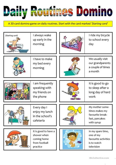 daily routines domino  cards worksheet  esl