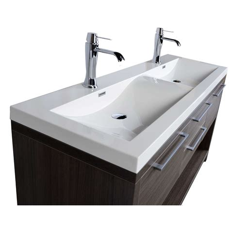 """57"""" Contemporary Double Vanity Set With Wavy Sink Grey Oak. Unique Dining Room Table. Dorm Room Fuck Party. Tween Room Design. Spare Room Design. Pop Design For Drawing Room. Video Game Themed Room. Pottery Barn Room Designer. Laundry Room Counters"""
