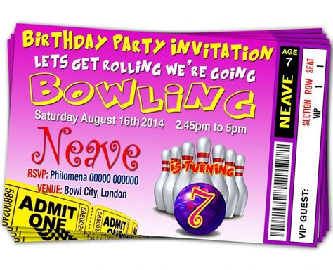 BIRTHDAY PARTY INVITATIONS Ten Pin Bowling Personalised