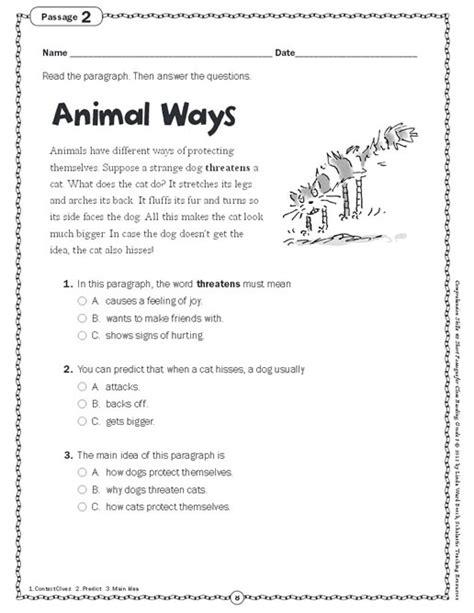 comprehension skills passages for reading grade 3