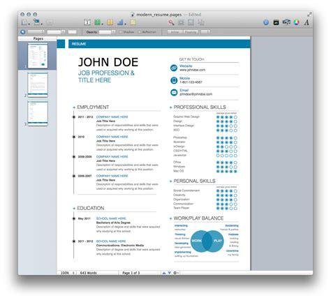 modern resume template mactemplatescom