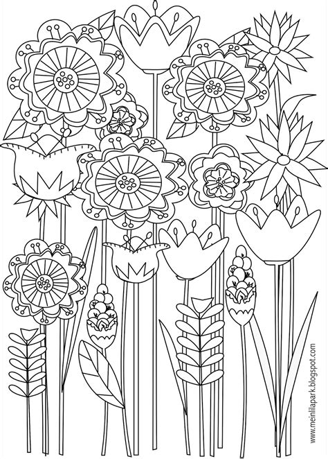 Free printable floral coloring page ausdruckbare