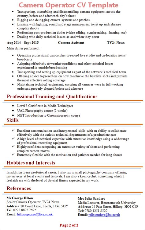 Photography Hobby Resume by Operator Cv Template 2