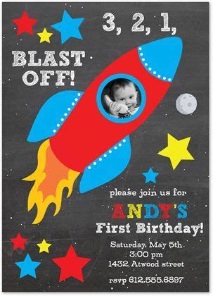 primary rocket ship chalkboard birthday party invitations