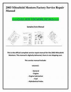 2003 Mitsubishi Montero Factory Service Repair Manual By