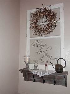 Hometalk Repurposed Old Window to Shelf Decoration