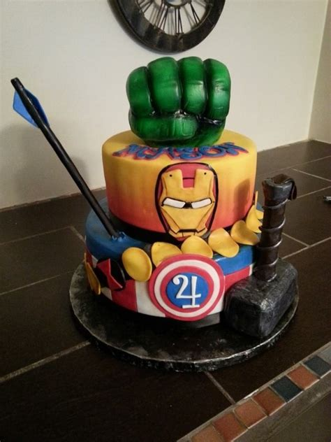 List of stunning captain marvel cake design image ideas that can inspire you to have custom cake designs for upcoming birthdays, weddings, anniversaries. Avengers Cake - CakeCentral.com