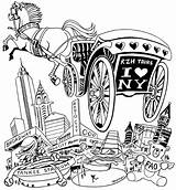 Horse Carriage Drawing Drawn Surrey Coloring Pages Drawings Template Getdrawings sketch template