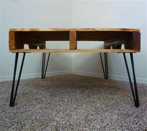diy  coffee table   rod hairpin legs pallet
