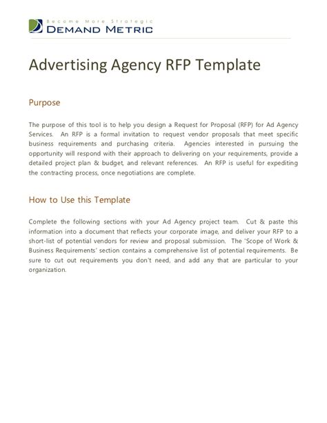 Rfp Requirements Template by Advertising Agency Rfp Template